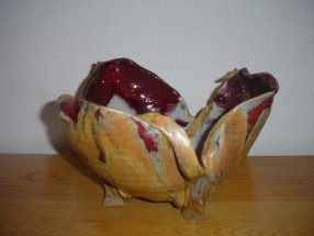 Gold, Red, and White Bowl