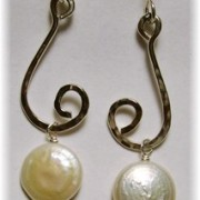 Sterling with Coin Pearl Earrings.